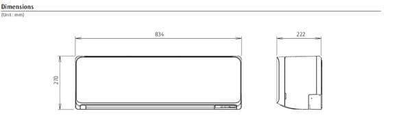 Fujitsu Air conditioning ASYG07KMCC Wall Mounted Heat pump A++ R32 2Kw/7000Btu Install Kit